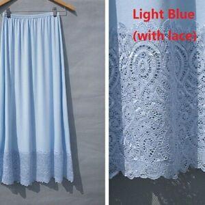Women Modal Lace Half Slip Petticoat Long Underskirt Elastic Waist Safety Casual