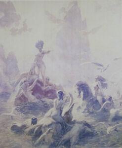 Norman LINDSAY Unknown Seas - Fine Art Poster, Impressionism, Pastel, 46 x 38 cm