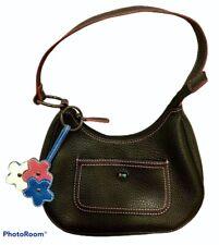 Tommy Hilfiger Black Faux Leather Hobo Handbag Embroidery Pink Trim Logo Key Fob