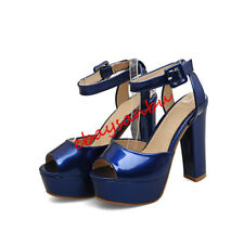 Women Block High Heel Open Toe Ankle Strap Platform Patent Leather Sandals Shoes