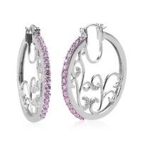 Cubic Zirconia CZ Pink Tree of Life Hoops Hoop Earrings Jewelry for Women Gift