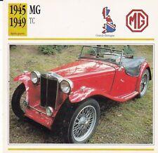 MG TC - GRANDE-BRETAGNE 1945/49 - CARTE FICHE COLLECTOR VOITURE OLDTIMER