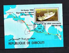 Djibouti  timbre  bloc  bateau cablier   num: BF 3  oblitéré