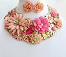 Floral Collar Necklace Earrings Bracelet Betsey Johnson Flowers One of a Kind