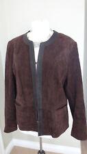 JAEGER Designer Women's Brown Soft Suede Collarless Blazer Jacket Size UK 18