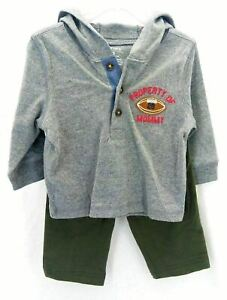 Carter's Infant Boy's 2 Piece Long Sleeve Hooded Pants Outfit Gray Green 6 Month