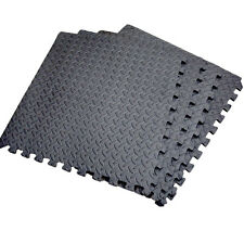 New Black Interlocking Mat Gym Mat Play Floor Guard Soft Foam 4 Piece - 16 SQ FT