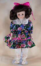 "Collector's Porcelain Doll 15"" Black Floral Dress Brown Eyes Brown Hair"