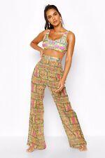 Boohoo Yellow Paisey Print Wide Leg Sheer Beach Trousers Size 14
