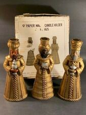 """9"""" Set 3 Vintage Candle Holders Christmas Gold Wise Men Three"""