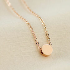 Round Pendant Charm Necklace Chain Gift 18K Rose Gold Filled Women's 5mm Cute