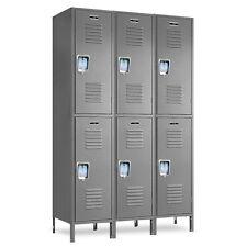 """Double-Tier Metal Employee Lockers 36""""W X 15""""D X 36/72""""H - 6 Openings a Set"""