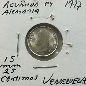 1977 Venezuela 25 Céntimos Nickel