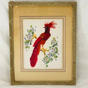 Vintage Handmade Real Feather Red Bird Framed Wall Hanging With Glass