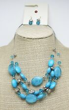 Beautiful Blue & Silver Beaded Multi Strand Necklace Earring Set #N2622