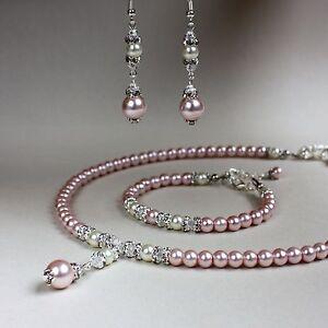 Pink cream pearl crystal collar necklace bracelet earrings wedding jewellery set
