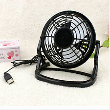 Black Portable Notebook Mini Super Mute PC USB Cooler Cooling Desk Fan Metal