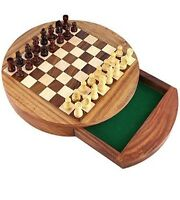 Magnetic Wooden Chess Set Storage Drawer Portable Top Quality Board Games 10''