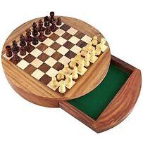 Magnétique Jeu D'échecs En Bois Stockage Tiroir Portable Jeux De Société 17.8cm