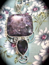 """Charoite Purple Gemstone Necklace Sterling Silver Amethyst Glass on 24"""" Chain"""