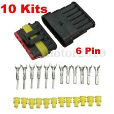 10PCS 6-Pin Way Sealed Waterproof Electrical Wire Auto Connector Plug Kits NEW