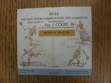 29/06/1992 Tennis ticket: Wimbledon lawn tennis Championships (plié, marqué).