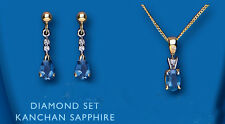 "9ct Yellow Gold Sapphire and Diamond Pendant & Earring Set with 18"" Chain"