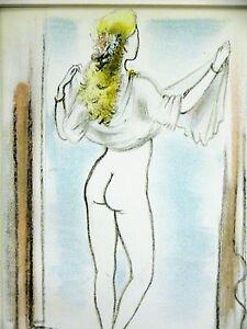 De Dignimont BEAUTIFUL NUDE WOMAN w LONG BLONDE HAIR 1947 Lesbian Print Matted