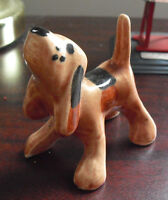 "Vintage Ceramic Brown Black Pointer Dog Figurine 3"" Tall LOOK"