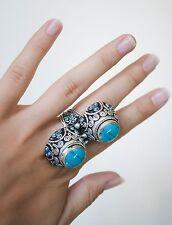 Anillo doble Afgano turquesa anillo plata alemana vintage Size 8/18mm anilloBoho