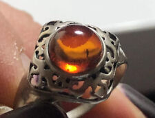 Lovely Sterling Silver Amber Ring , Size T , 2.56g