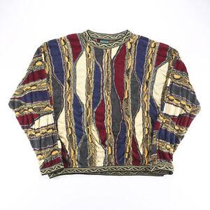 Vintage COOGI Blue 90s Round Neck Wool Crazy Jumper Mens 3XL