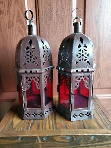 2 - Moroccan Style Metal Red Glass Candle Lantern Hinged Door Detailed Arched