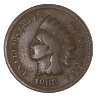 Raw 1868 Indian Head 1C Ungraded US Mint Small Cent Penny Coin