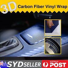 2pcs 75 x 30cm Car 3D Carbon Fiber Blue Vinyl Film Interior Covering Decal Wrap