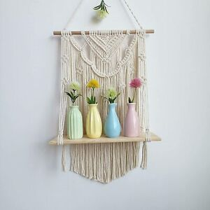 Macrame Wall Hanging Shelf Floating Hanging Shelf Organizer Hanger Home Decor