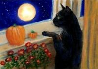 NEW BCB Black Cat Window Halloween Moon Print of Painting ACEO 2.5 x 3.5 Inches