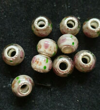 10 GREY/WHITE GLASS BEADS WITH PINK ROSES