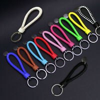 Key Chain Keychain Leather Rope Strap Weave Keyring Ring Key Fob Gifts 11 Colors