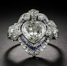 VINTAGE ART DECO 3.11ct White Heart cut 925 Silver Engagement Solitaire Ring Set