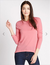 BNWT M&S Collection Ladies Pink 3/4 Sleeve Hanky Hem Textured Top