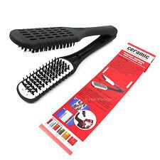 Salon Pro Hair Straightener Clamp Ceramic Duplex Brush 100% Natural Boar Bristle