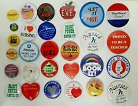 Essential Workers Vtg Button Lot 29 Collectible Pin Elvis Teacher Nurse Hospital