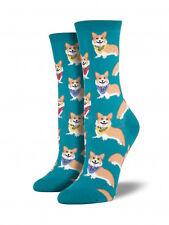 Corgi Dog Socks - Emerald Green SockSmith Cotton Womens