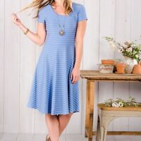 Matilda Jane Exploration Dress blue striped fit and flare