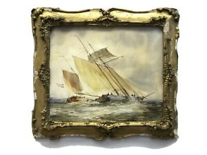 Old Watercolour painting sailing boats shipping scene Antique gold frame