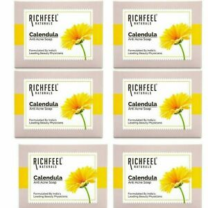 Richfeel Naturals Anti Acne Soap With Calendula For Skin Benefits Set Of 6 Pcs