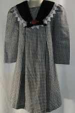 Rare Editions Black and White Checked Dress Red Rose and Bow Size 4 Long Sleeves