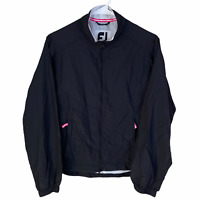 FootJoy Womens Full Zip Golf Jacket XS Black Pink White Water Resistant Wind