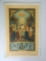 """Kitschbild Religiös Buchmalerei 1937 """" Eucharistie Taufe Kommunion """" 44cm"""